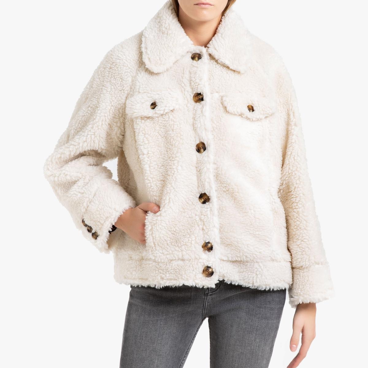 Пальто La Redoute Короткое на пуговицах с имитацией под мутон 1(S) бежевый