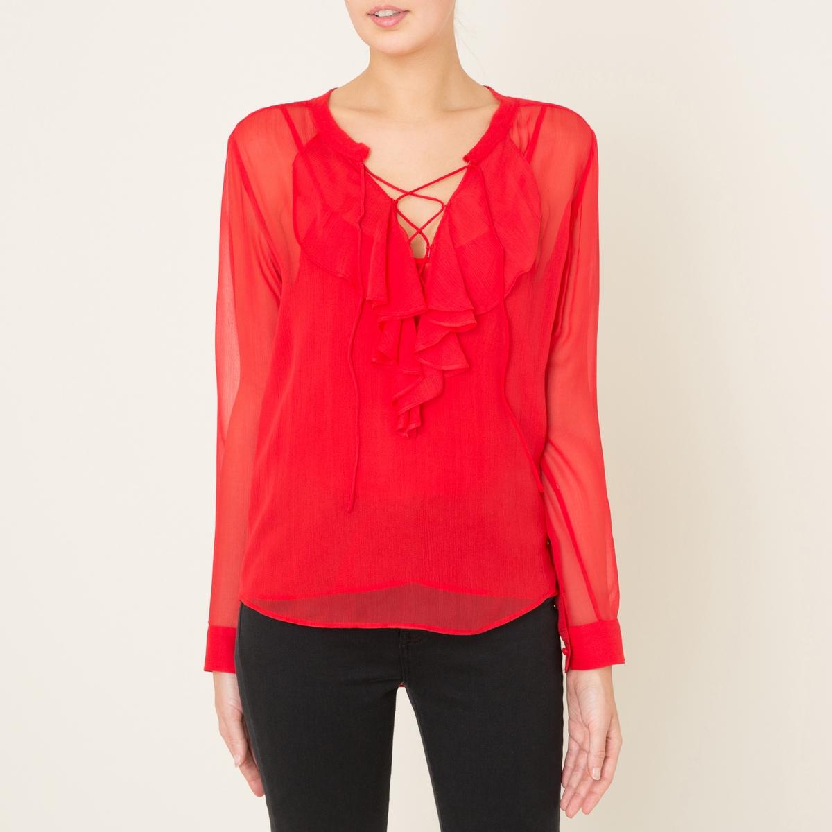 Блузка из шелка на шнуровкеСостав и описание    Материал : 100% вискоза   Подкладка 100% полиэстер   Марка : THE KOOPLES<br><br>Цвет: красный