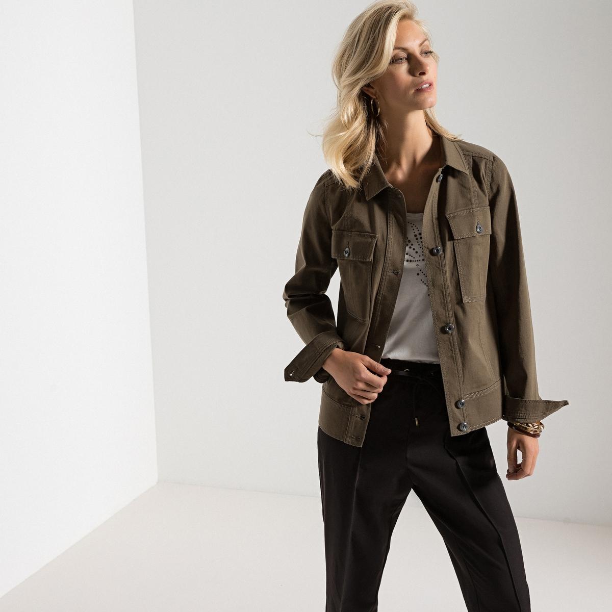 Жакет прямого покроя в стиле милитари с накладными карманами, из хлопка, стрейч жакет удлинённый в стиле милитари на молнии с поясом