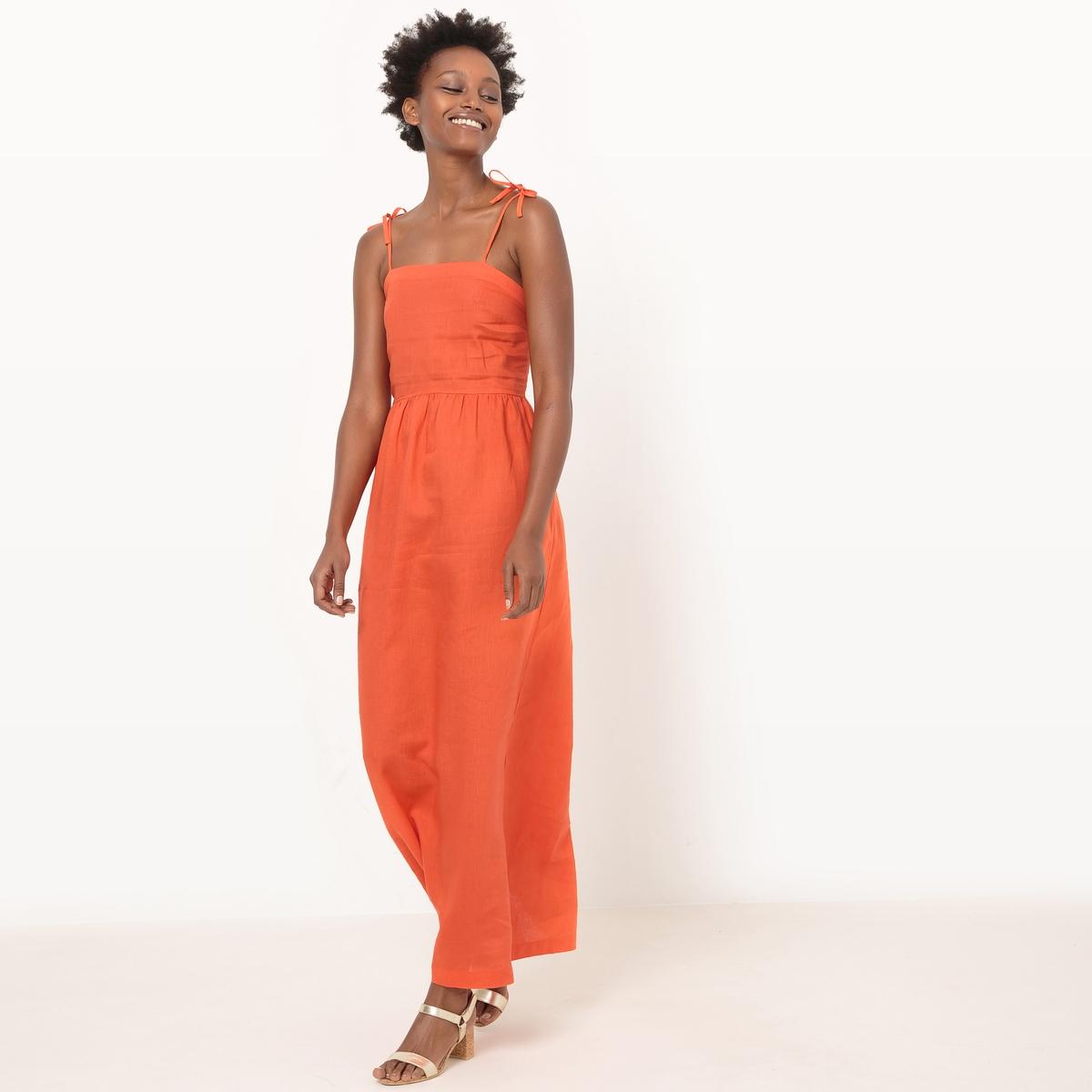 Платье длинное с тонкими бретелями с завязками