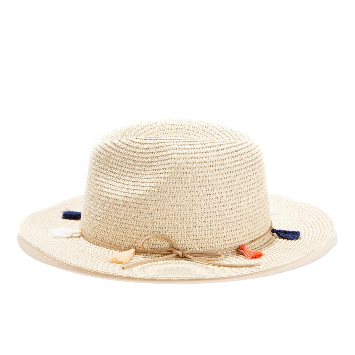 Шляпа с окантовкой и помпонами