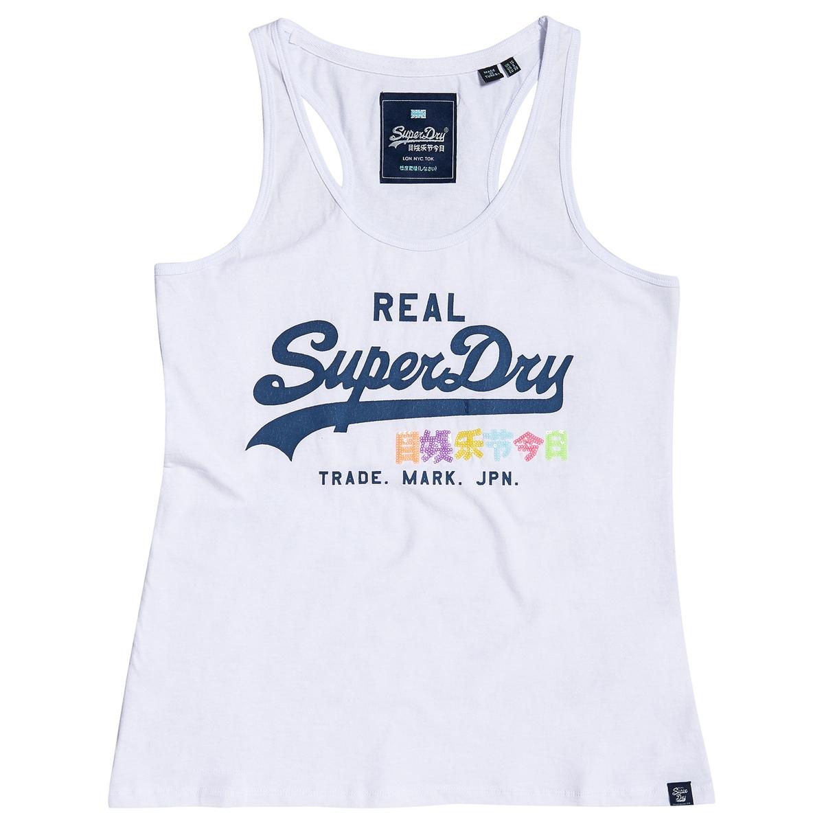 Camiseta sin mangas con cuello redondo y estampado delante