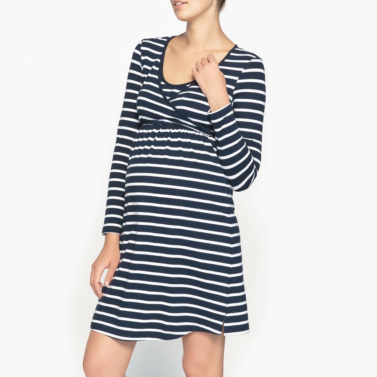 Рубашка ночная для периода беременности и грудного вскармливанияНочная рубашка для периода беременности и грудного вскармливания в полоску, с длинными рукавами, Cocoon.Ночная рубашка из джерси разработана специально для периода беременности и грудного вскармливания. Вставка спереди с вшитым бюстгальтером, адаптированным для грудного вскармливания. Эластичный пояс. Длинные рукава. Небольшие шлицы по бокам. Состав и описание : Материал : джерси 96% хлопка, 4% эластанаДлина : 90 смМарка : CocoonУход:Стирать при 40° на деликатном режиме с изделиями схожих цветов.    Стирать, сушить и гладить при низкой температуре с изнаночной стороны.<br><br>Цвет: темно-синий/ белый<br>Размер: 46/48 (FR) - 52/54 (RUS)