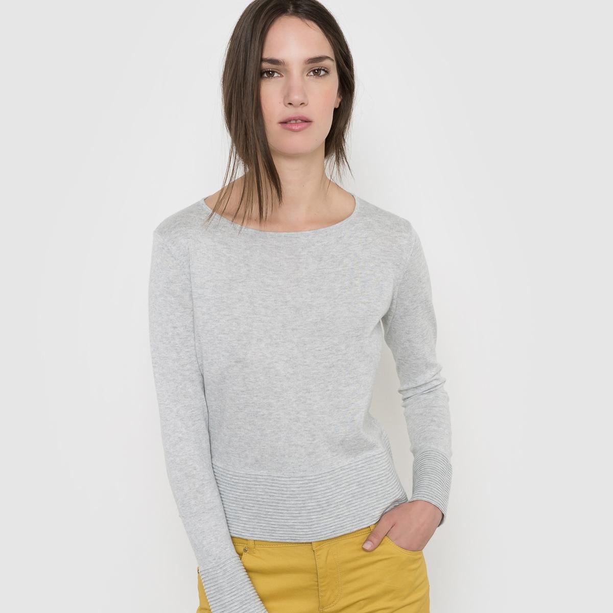 Пуловер из трикотажа в рубчик