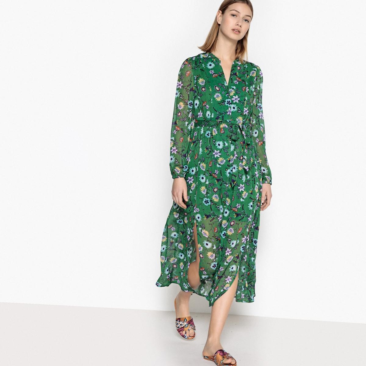 Платье удлинённое, расклешённое с длинными рукавами