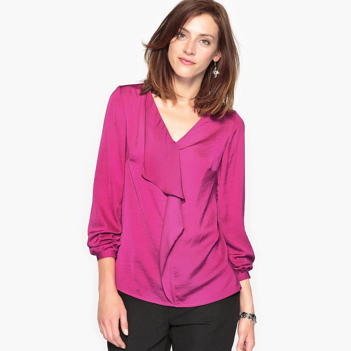 Блузка оригинальная из крепа и сатина платье с воланом из жатого крепа