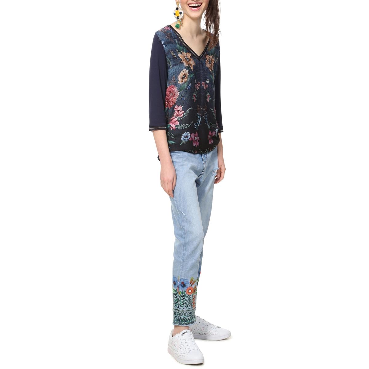 Camiseta con cuello de pico y manga larga, estampada de flores