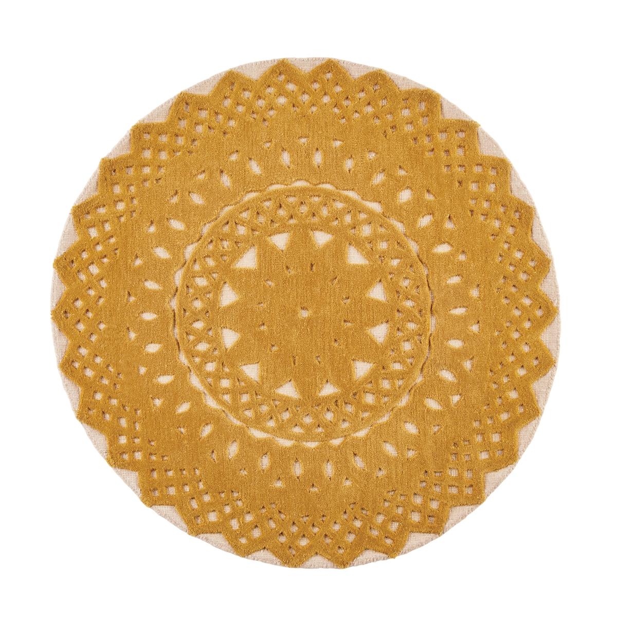 Ковер La Redoute Круглый из шерсти диаметр 120 см желтый ковер la redoute горизонтального плетения с рисунком цементная плитка iswik 120 x 170 см бежевый