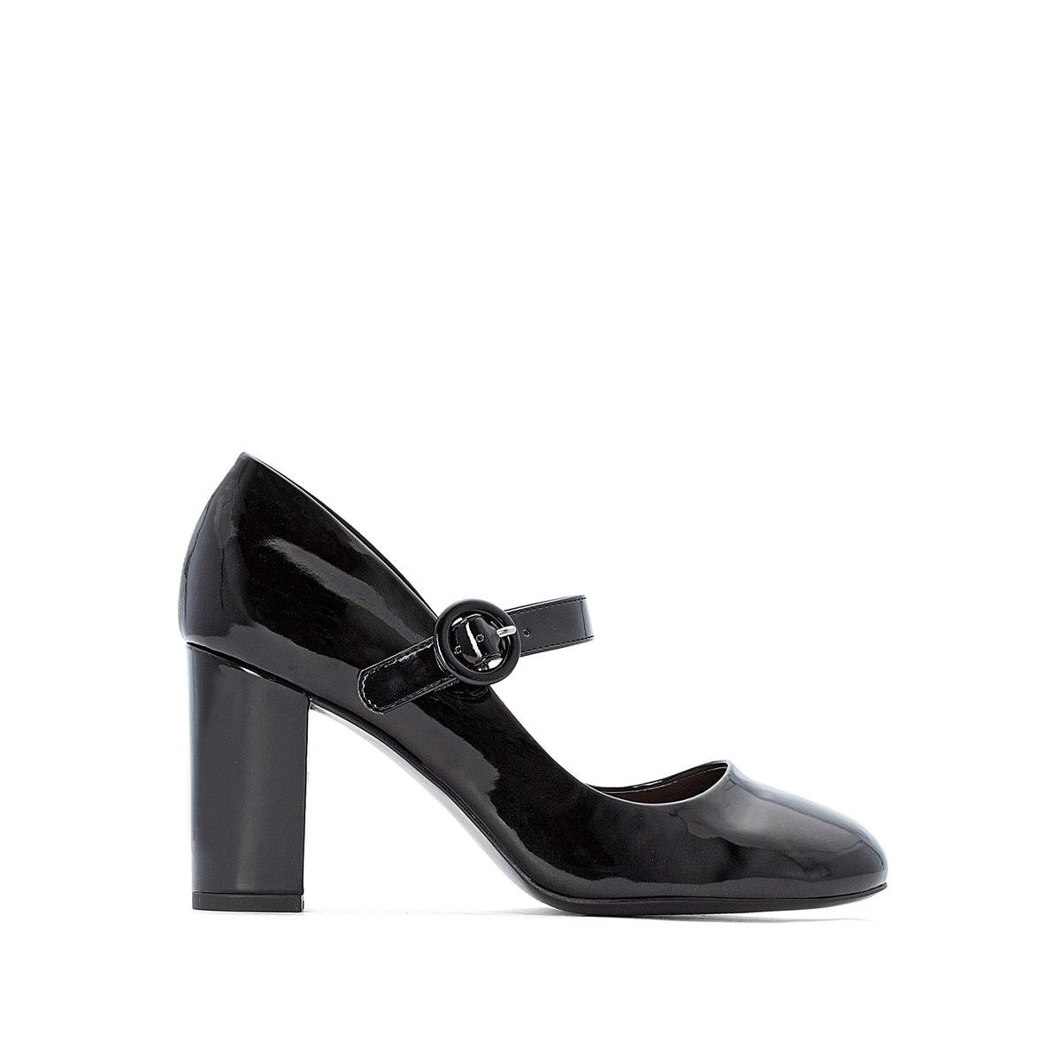 цена Туфли La Redoute Лакированные с ремешком на пряжке 38 черный онлайн в 2017 году