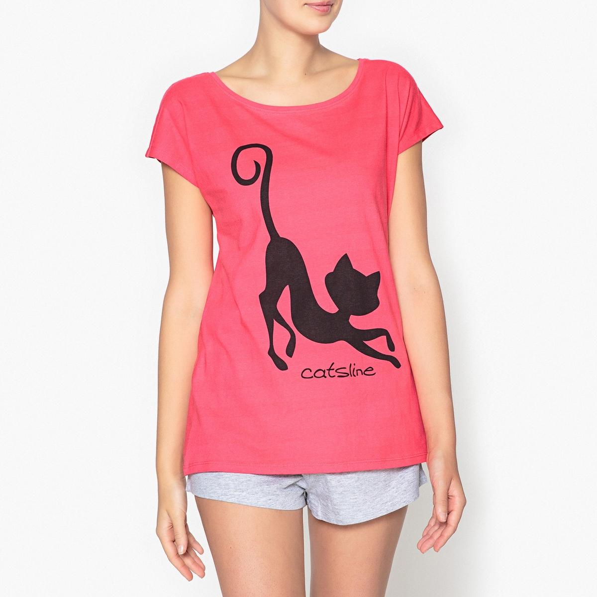 Пижама с шортами и рисунком, CatslineВерх с короткими рукавами и графическим рисунком кот Catsline и шорты с бантиком .Состав и описаниеРаздельная пижама, верх с принтом, круглый вырез и короткие рукава.Шорты с завязками . Эластичный пояс.Марка : CatslineМатериал :  92% хлопка, 8% полиэстера. Уход: :Машинная стирка при 30 °С на деликатном режиме с вещами схожих цветов.Стирать и гладить при низкой температуре с изнаночной стороны.Машинная сушка запрещена.<br><br>Цвет: серый/ красный<br>Размер: XL.L