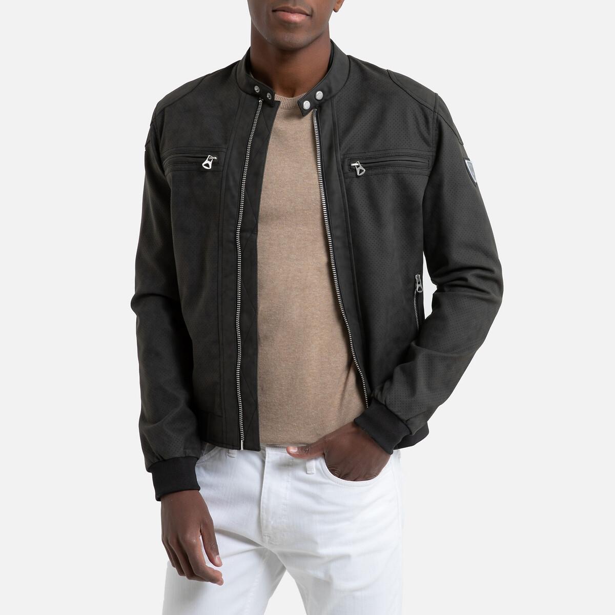 Блузон La Redoute В байкерском стиле из искусственной кожи Riko M черный свитшот la redoute с логотипом в винтажном стиле la redoute m белый