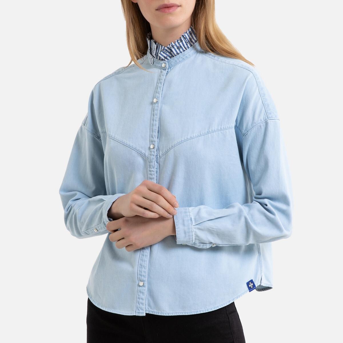 Рубашка La Redoute С воротником-стойкой с длинными рукавами L синий цена 2017