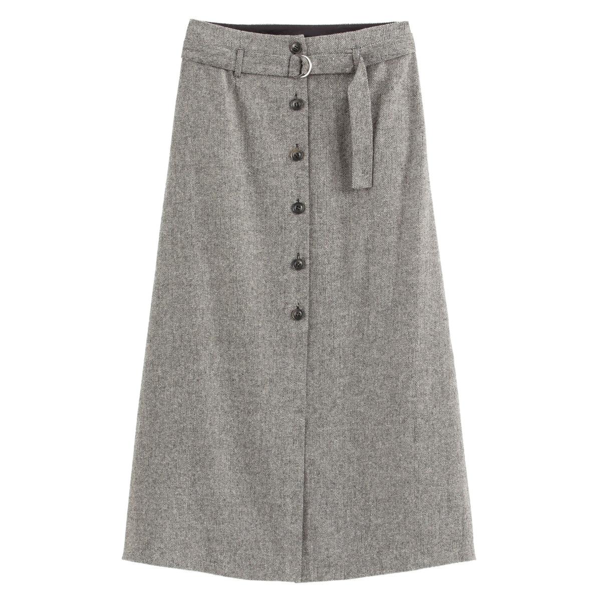 Falda larga de tweed con espiga