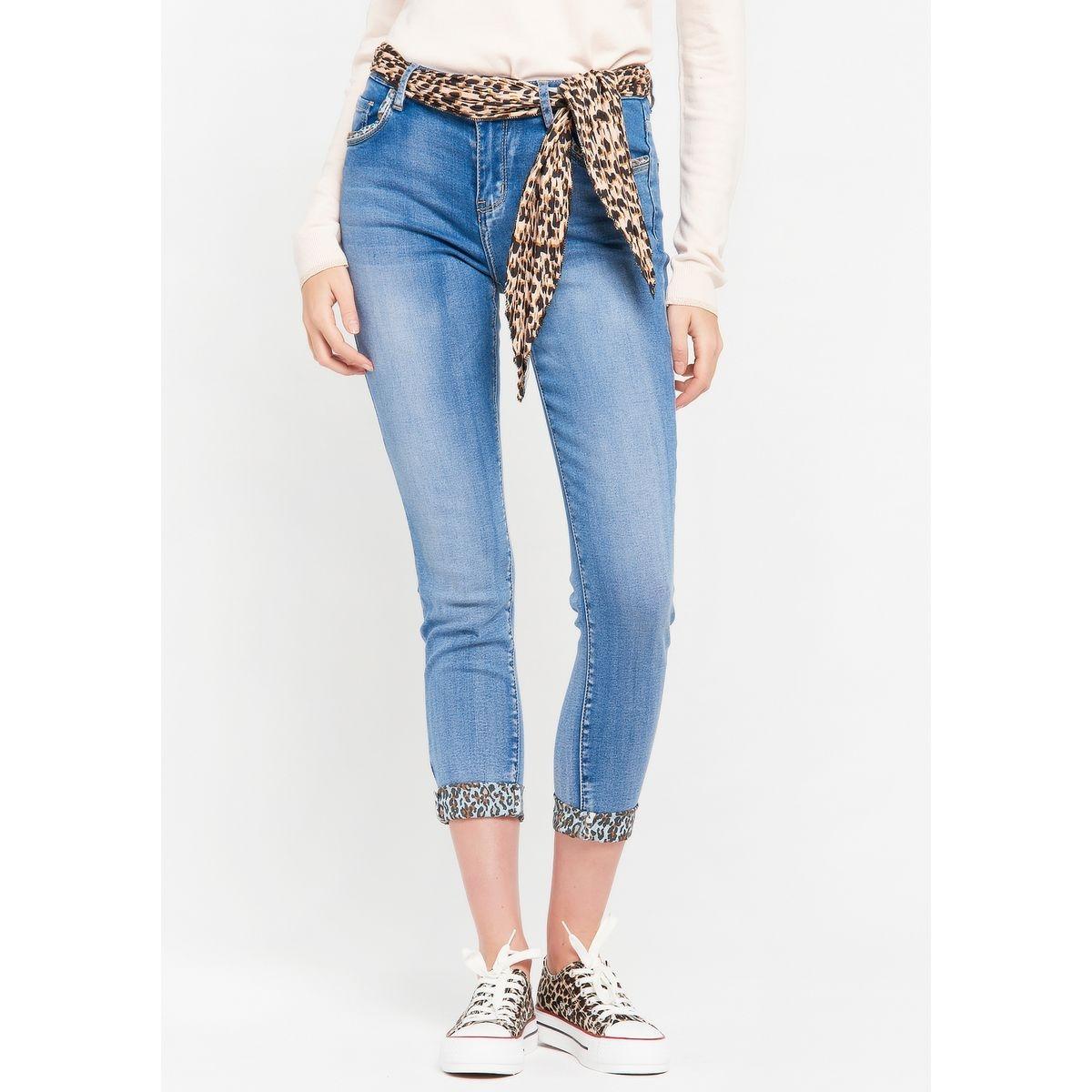 Jeans slim avec foulard en léopard