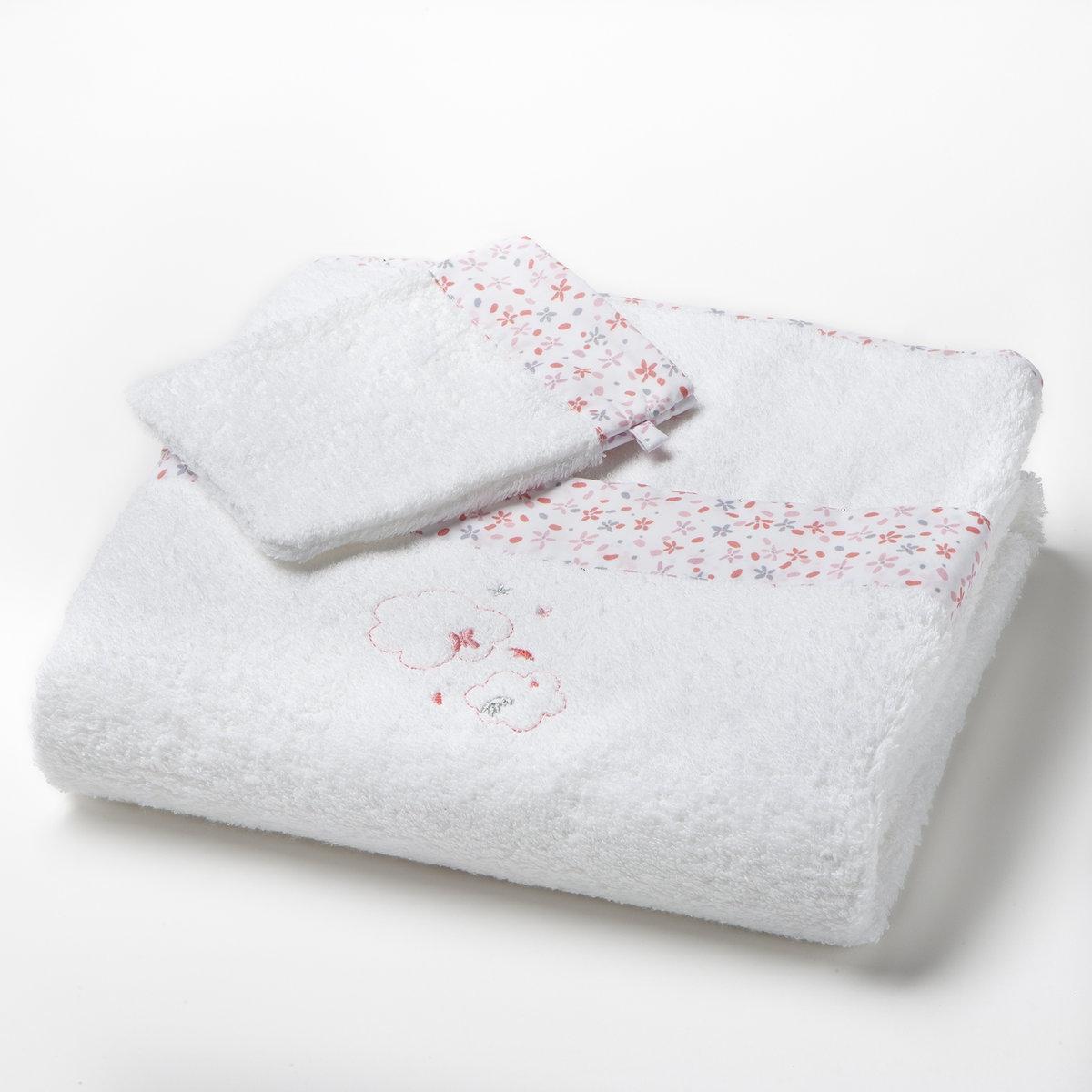 Комплект 1 полотенце махровое + 1 перчатка 400г/м2Махровая ткань 100% хлопка 400г/м2 Долго остаётся мягкой, устойчива к износу, прекрасно сохраняет цвет после стирок при 60°.Машинная сушка.Цвет: Белый Размер: единый<br><br>Цвет: белый