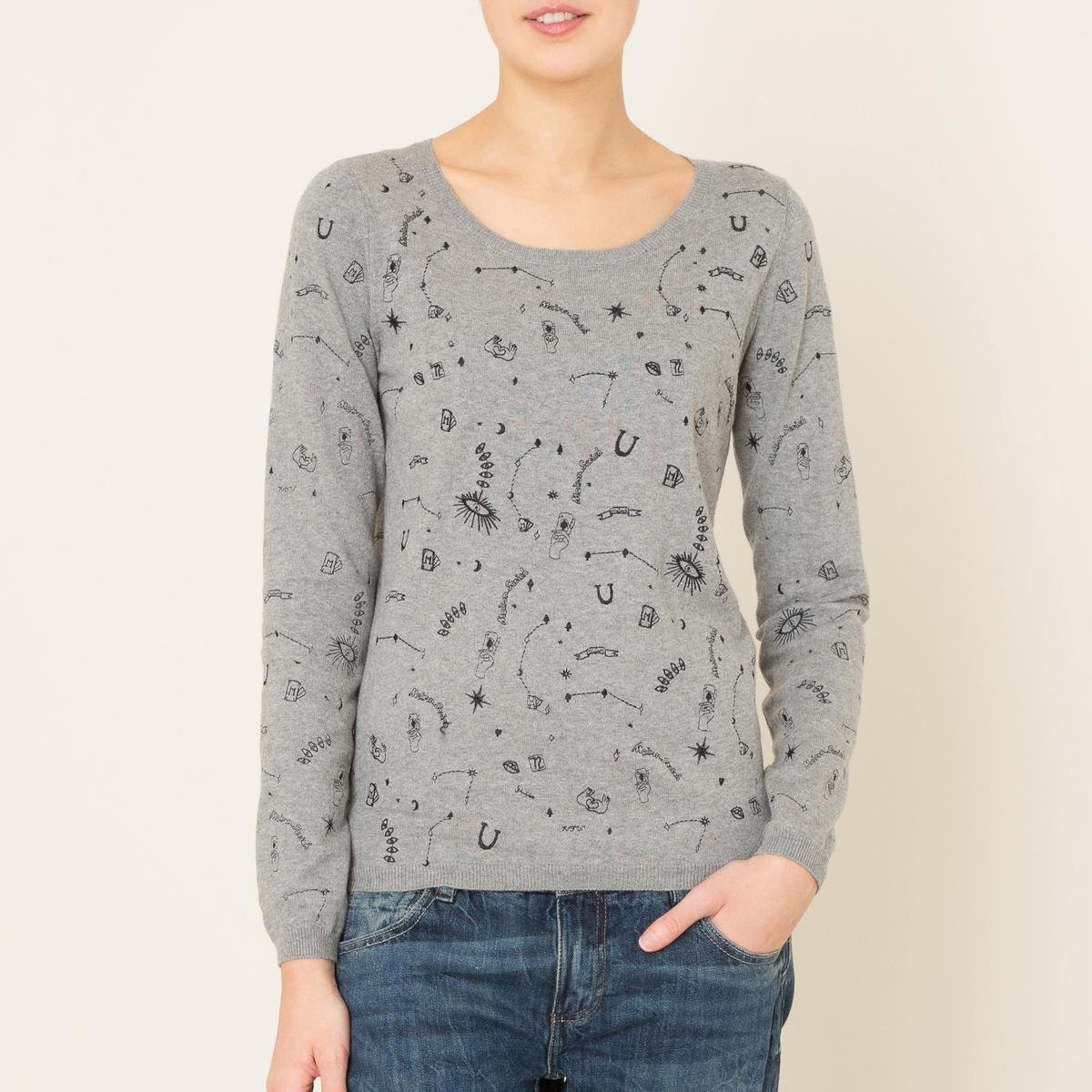 Пуловер с рисункомСостав и описание Материал : 80% хлопка, 20% шерстиМарка : MAISON SCOTCH<br><br>Цвет: серый
