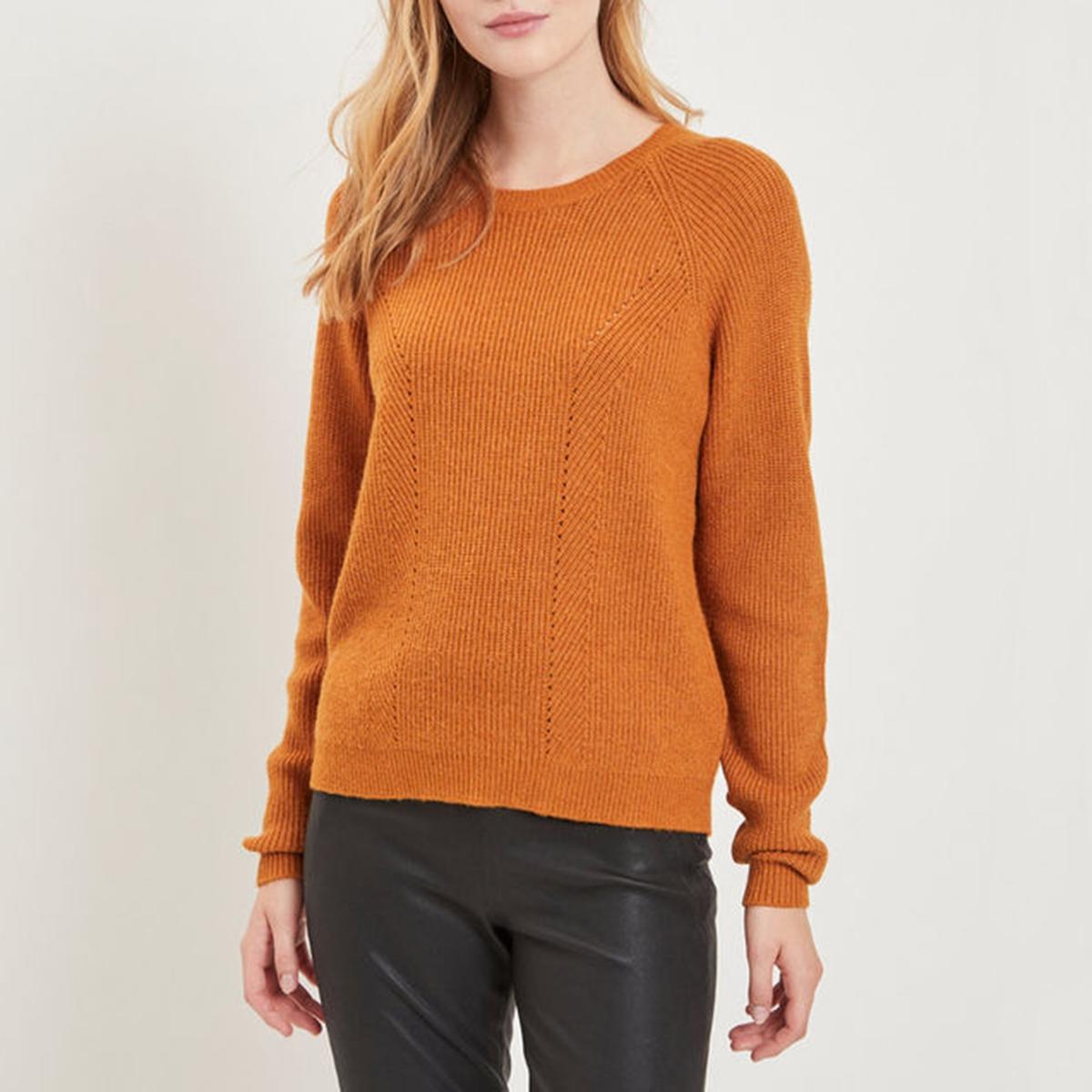 Пуловер с круглым вырезом и длинными рукавами из тонкого трикотажа цена 2017