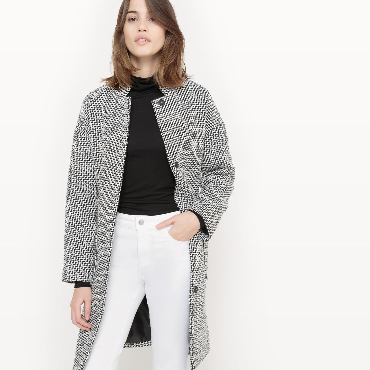 Пальто средней длины из полиэстера