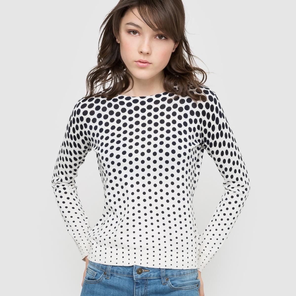 Фото Пуловер с рисунком горох. Купить с доставкой