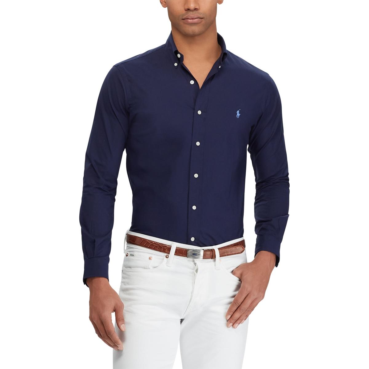 Рубашка LaRedoute Слим из поплина стрейч S синий