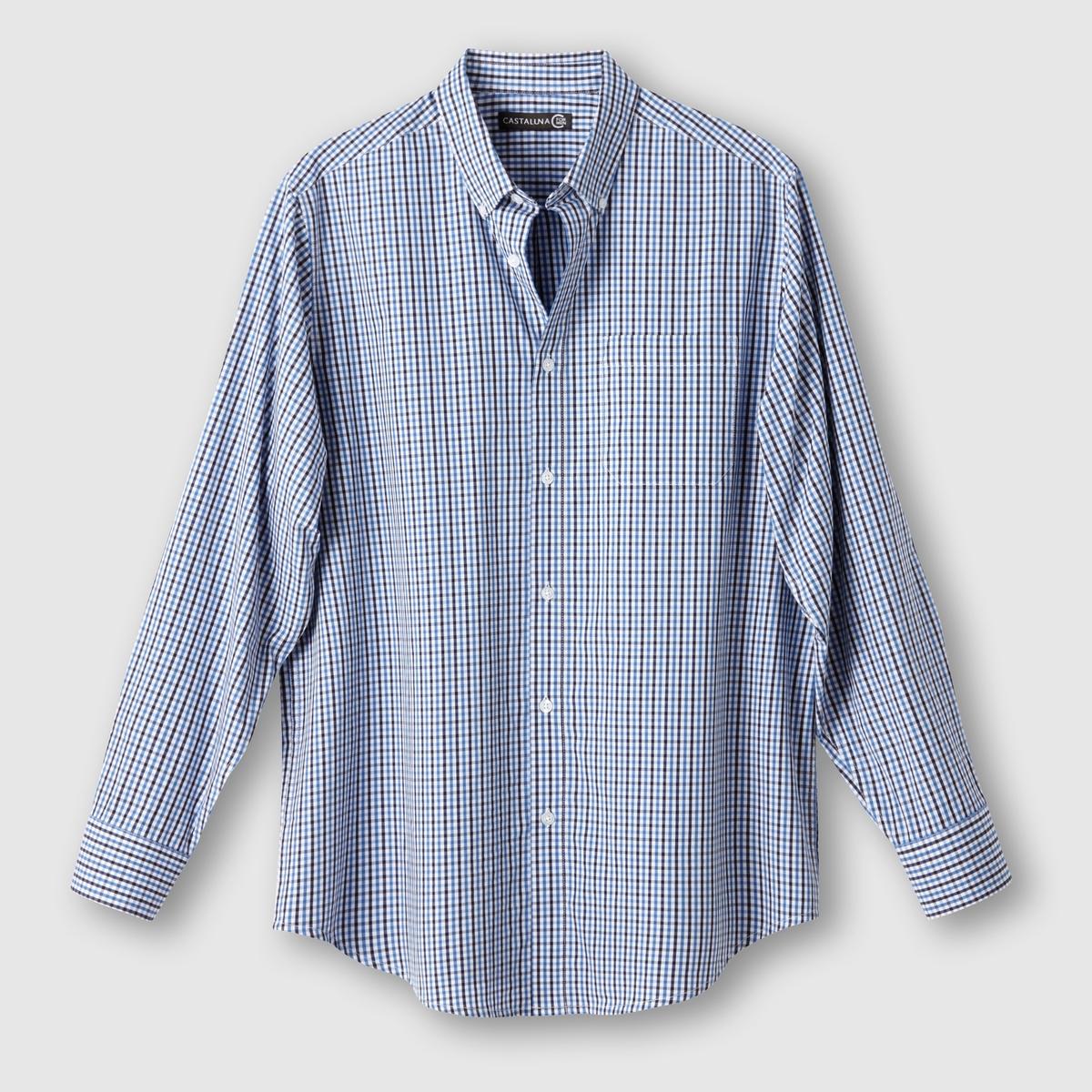 Рубашка в клеткуРубашка в клетку. Длинные рукава. Воротник с застежкой на пуговицы. 1 нагрудный карман. Складка сзади. Закругленный низ. Поплин в клетку с окрашенными волокнами, 100% хлопок. Длина 83 см.<br><br>Цвет: темно-синий/ синий<br>Размер: 51/52.55/56.41/42
