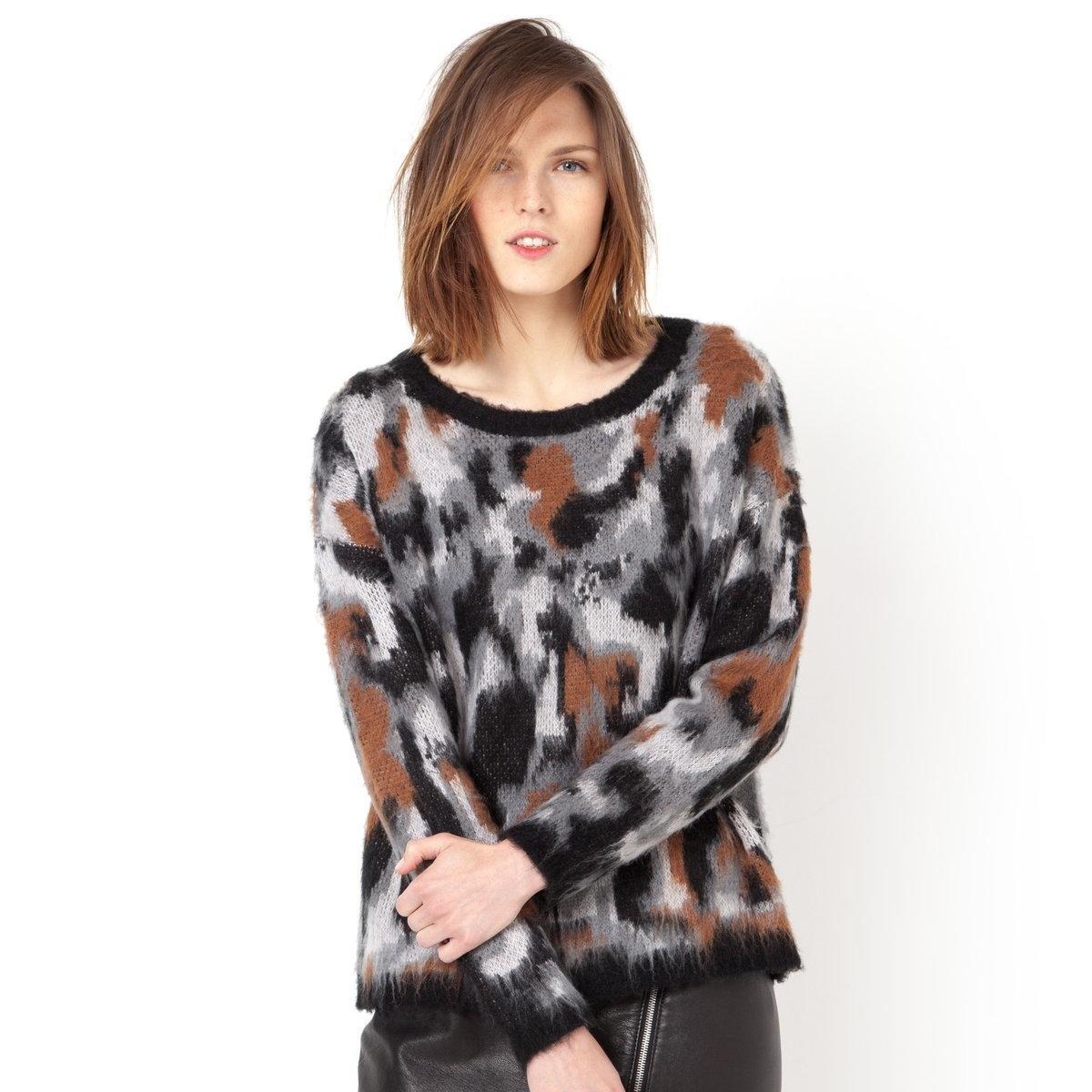 Пуловер с животными мотивамиПуловер с животными мотивами из трикотажа, 100% акрила. Круглый вырез. Края связаны в рубчик.<br><br>Цвет: темно-бежевый