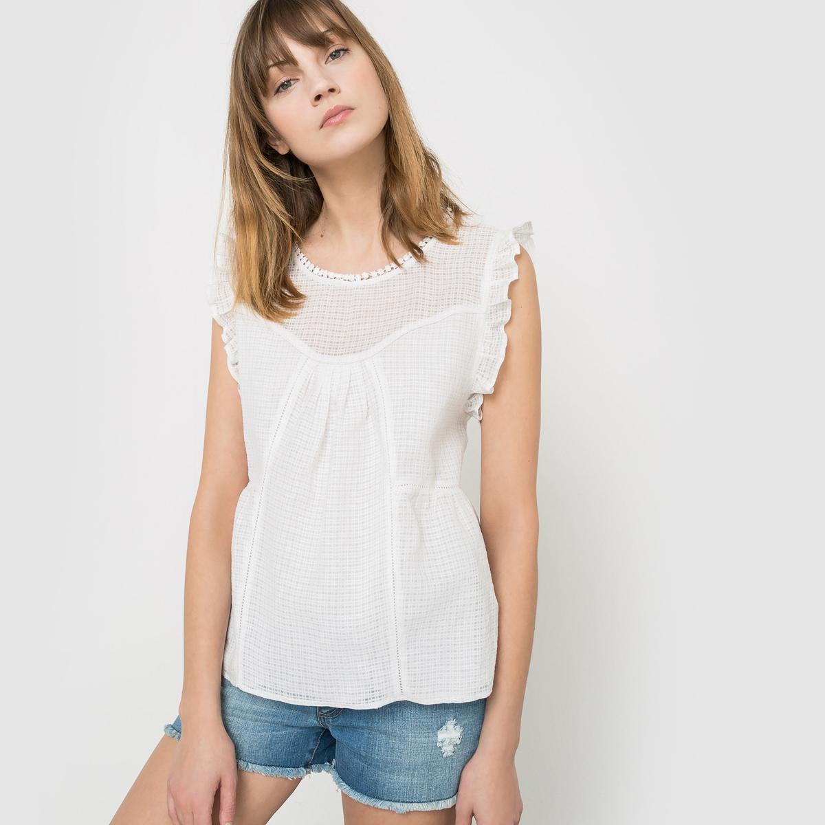 Рубашка без рукавов в клетку добби с воланами