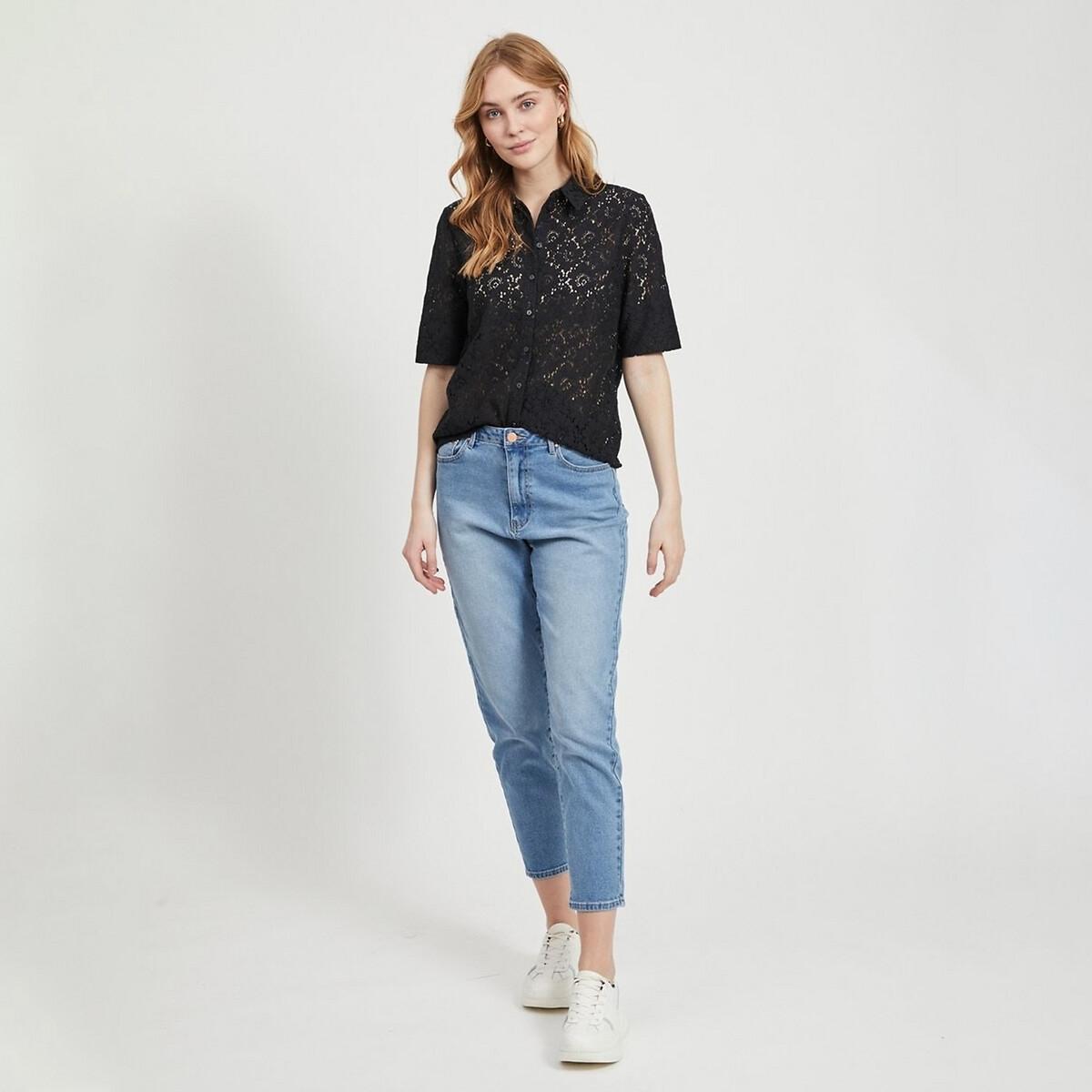 Рубашка La Redoute С короткими рукавами с вышивкой 36 (FR) - 42 (RUS) черный