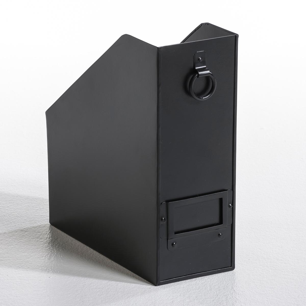 Подставка для папок металлическая HenryМеталлическая подставка для папок Henry. Вам больше не придется искать повсюду журналы и папки, если у Вас будет эта металлическая подставка с эпоксидным покрытием. Кольцо и держатель для бирки спереди. Разм. : Д10 x В28 x Ш25 см.<br><br>Цвет: серый,хаки,черный<br>Размер: единый размер