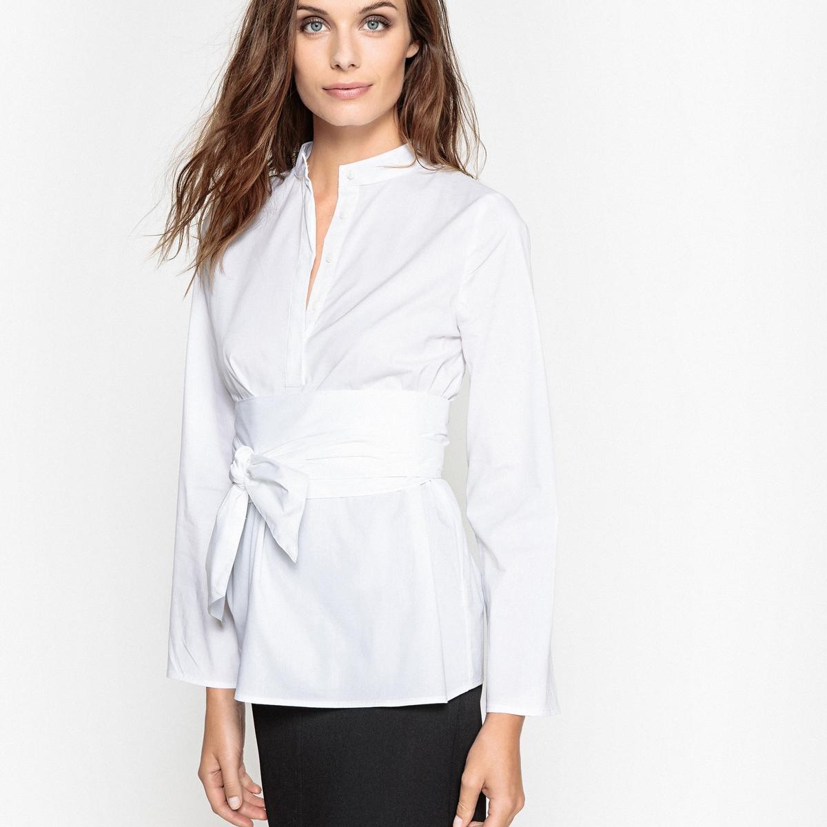 Блузка длинная с поясом на талии