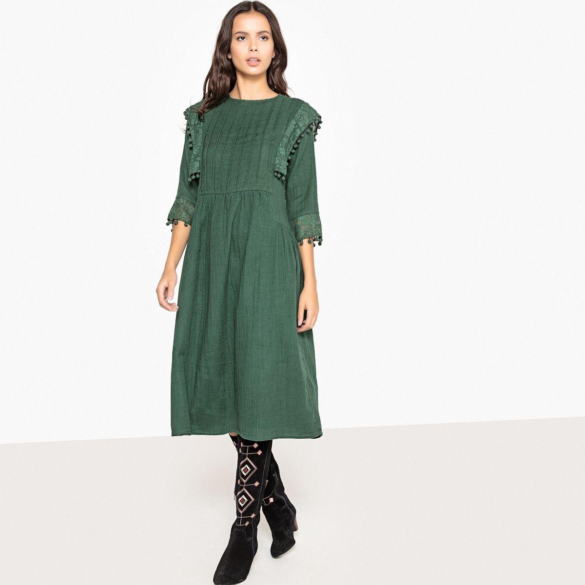 Robe midi style folk, avec plis et pompons