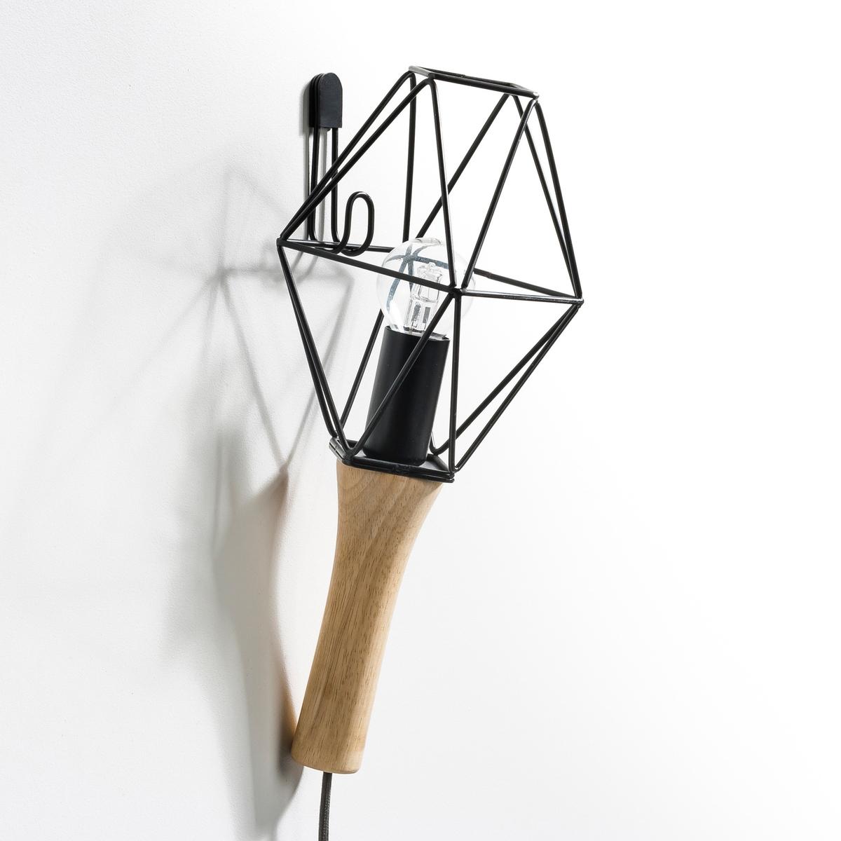 Лампа переносная, NomadeХарактеристики : - Ручка из дуба. - Проволочный каркас из металла, покрытого черной эпоксидной краской, медное, латунное или хромированное покрытие- Кабель с оболочкой из текстиля черного цвета.- Патрон E14 для лампы 40 Вт (продается отдельно). - Совместима с лампами класса энергопотребления A-B-C-D-E.       Размеры : - Ручка : длина. 13,5 см.- Абажур из металлической проволоки : ширина. 15,2 см x длина. 18 см.- Кабель длиной 2,5 метра.<br><br>Цвет: медный,черный