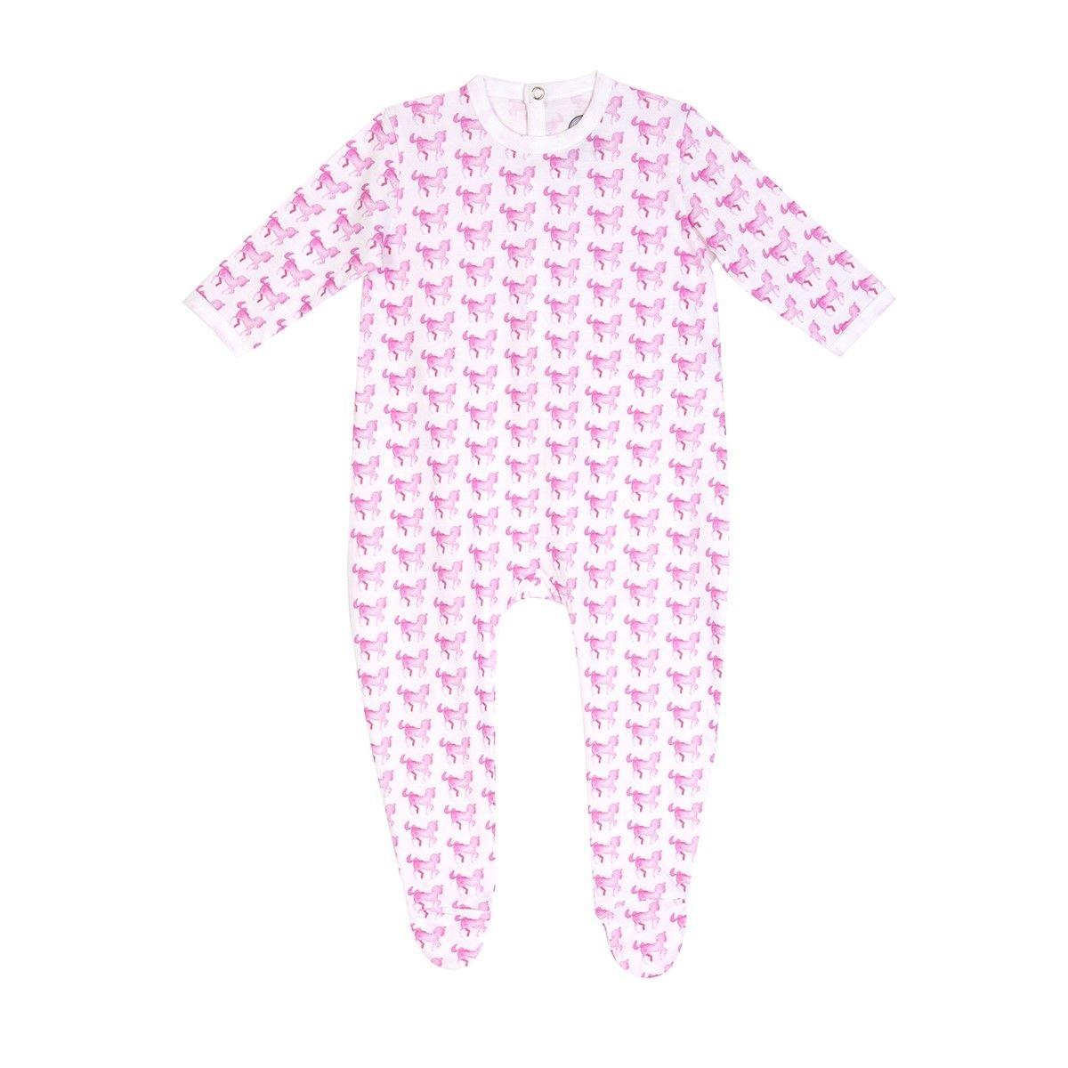 Pyjama bébé fille en coton bio - Imprimé Cheval rose