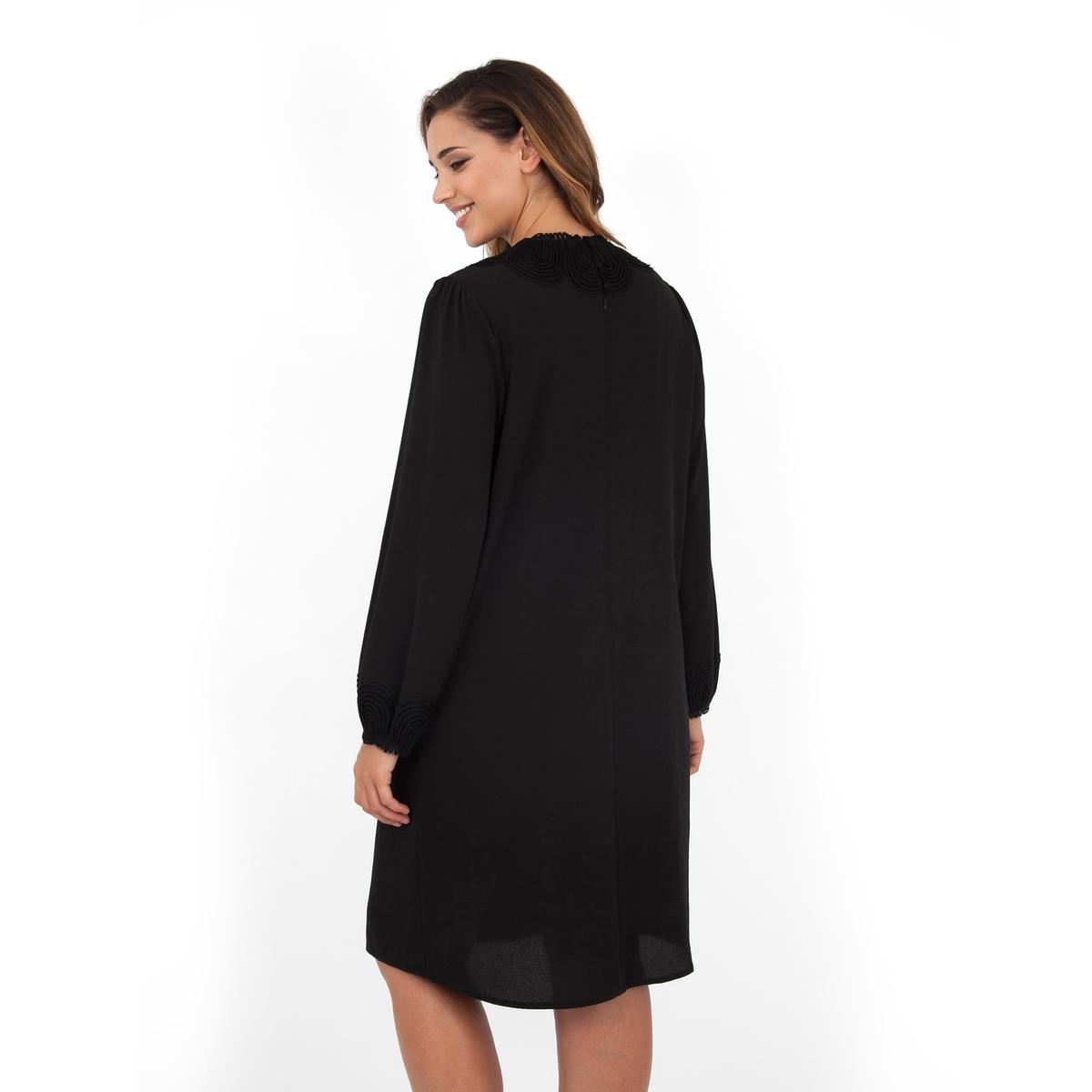 ПлатьеПлатье с длинными рукавами - LOVEDROBE. Отделка выреза и манжет изящным  кружевом. Длина ок.104 см. 100% полиэстера.<br><br>Цвет: черный<br>Размер: 44 (FR) - 50 (RUS)