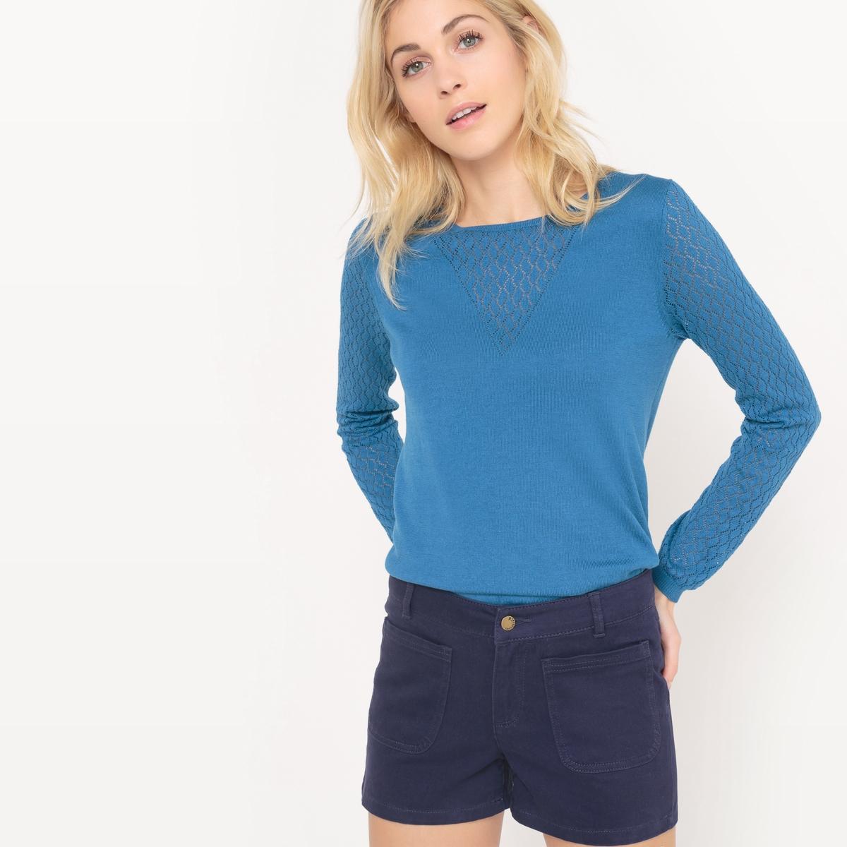 Пуловер с ажурным эффектом