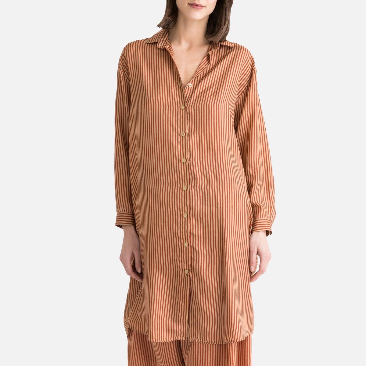 Chemise rayée en soie à manches longues