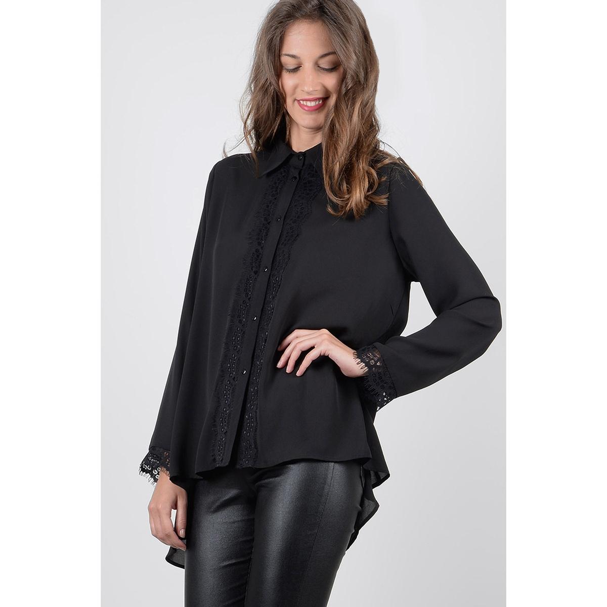 Блузка однотонная с воротником-поло и длинными рукавами