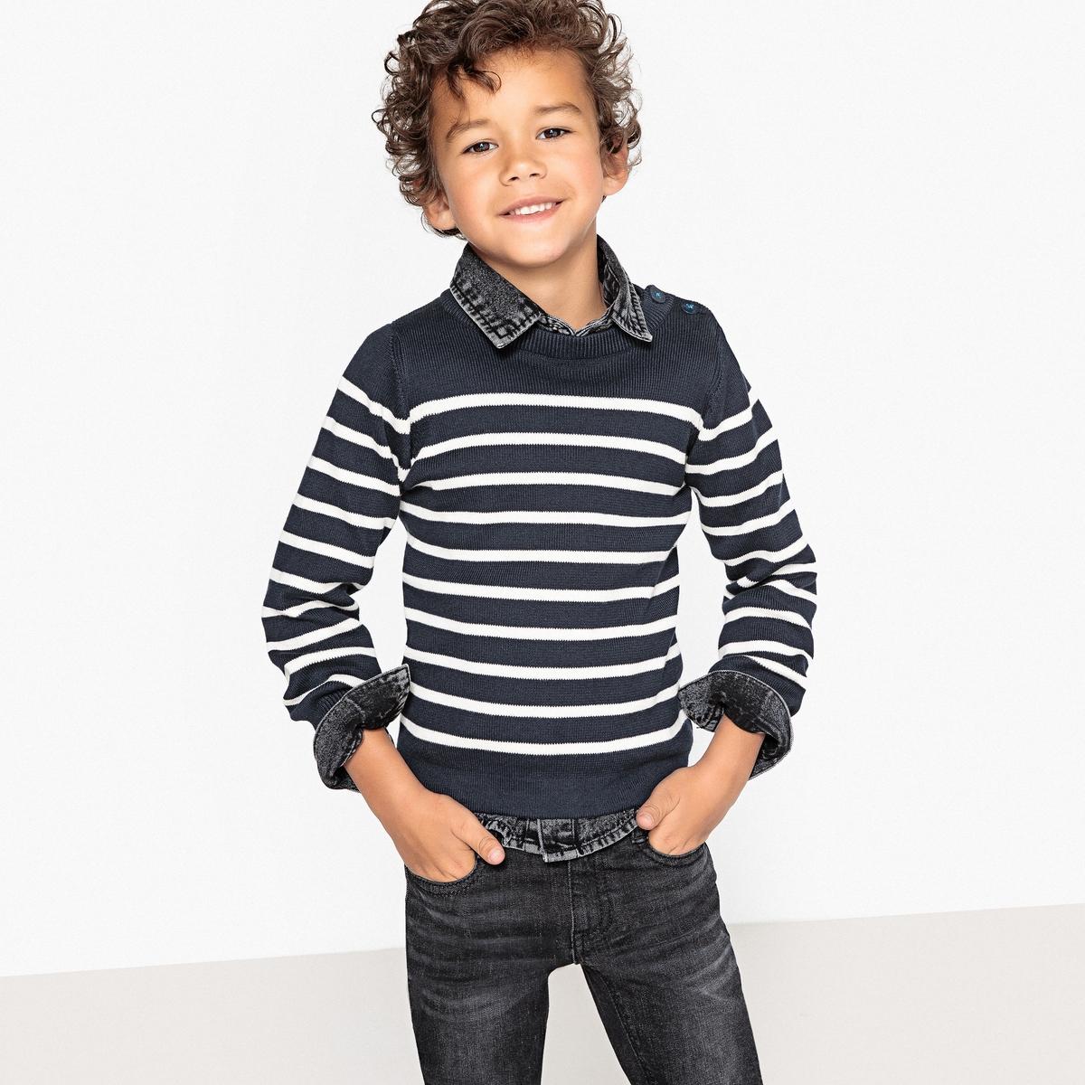 Пуловер в полоску в морском стиле,  3-12 лет