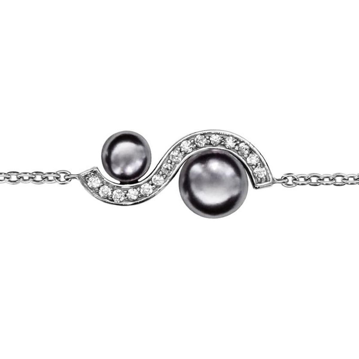 Bracelet Réglable: 16 à 18 cm Vague Perles Argent 925