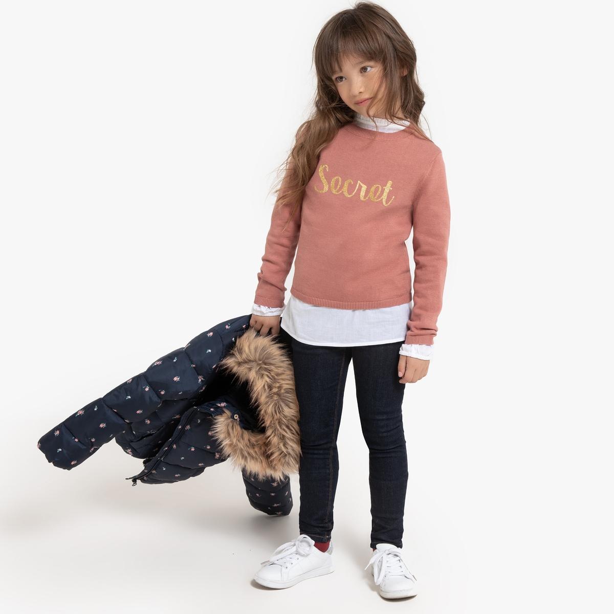 цена Пуловер La Redoute С круглым вырезом и надписью из пайеток 12 лет -150 см розовый онлайн в 2017 году