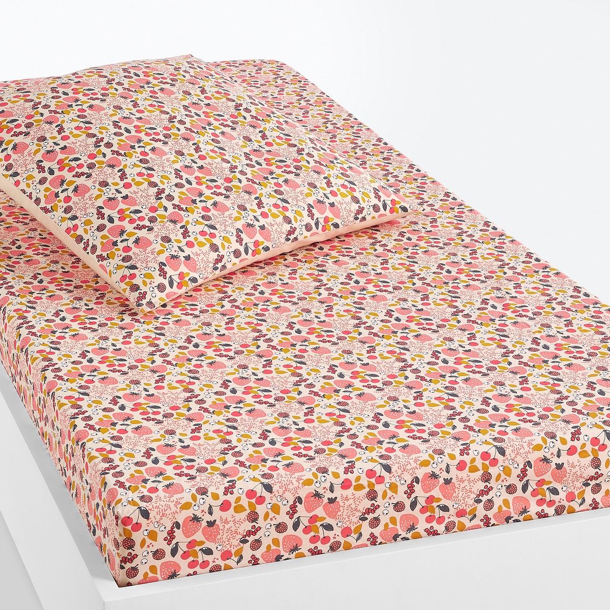 Простыня LaRedoute Натяжная детская FRAISE 90 x 140 см розовый