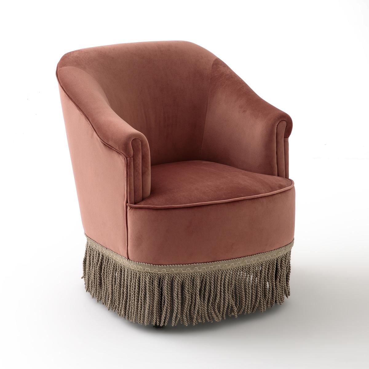 Кресло LaRedoute Низкое и широкое в винтажном стиле из велюра с бахромой RAMONA 1-мест. розовый