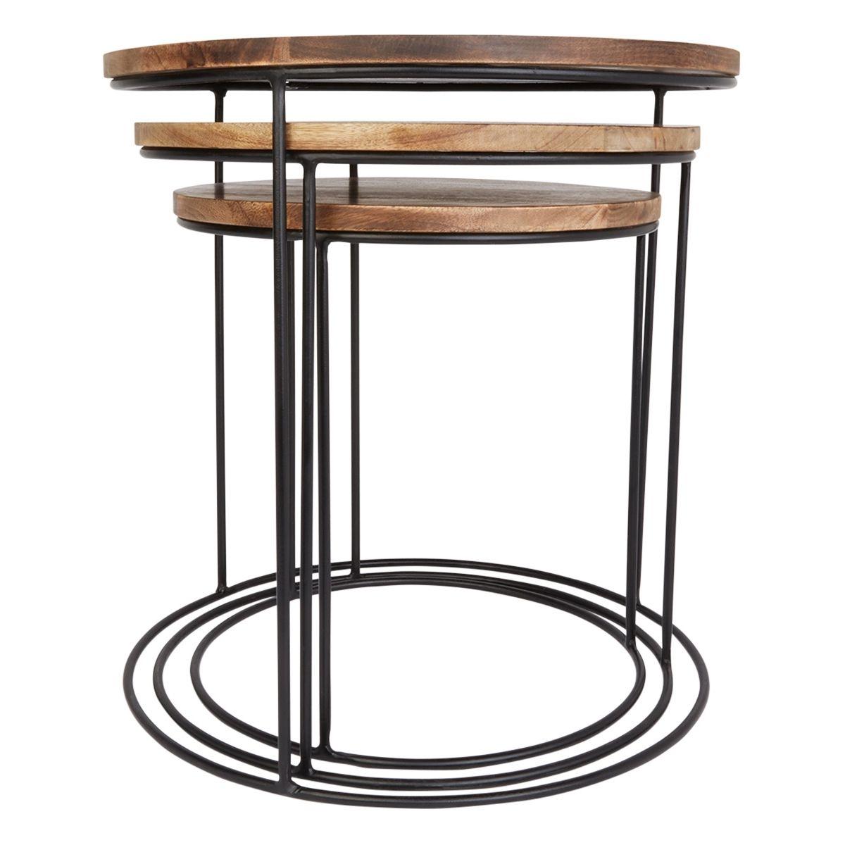 3 Tables Basses Gigogne Omango Bois Et Métal