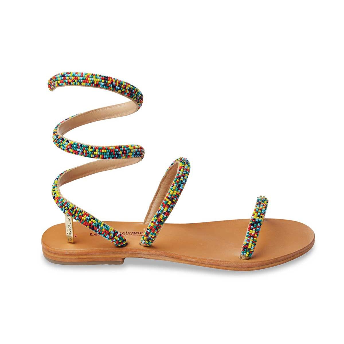 Босоножки плетеные на плоском каблуке Olga