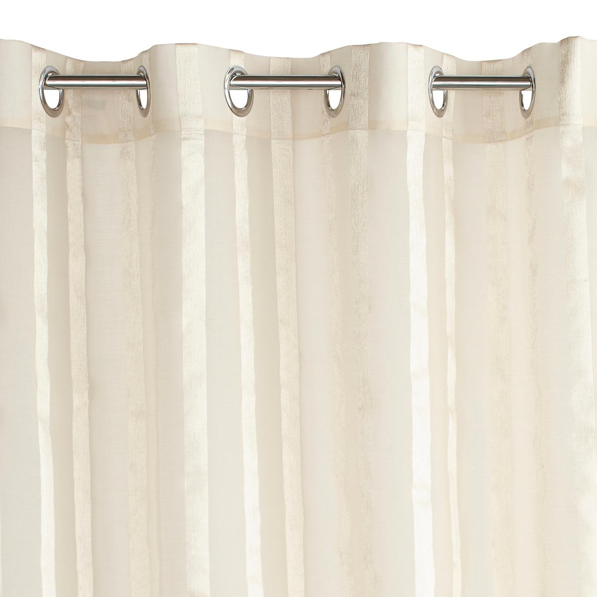 Занавеска в полоску, с рисунком шевроны, с люверсами, Aberdal от La Redoute