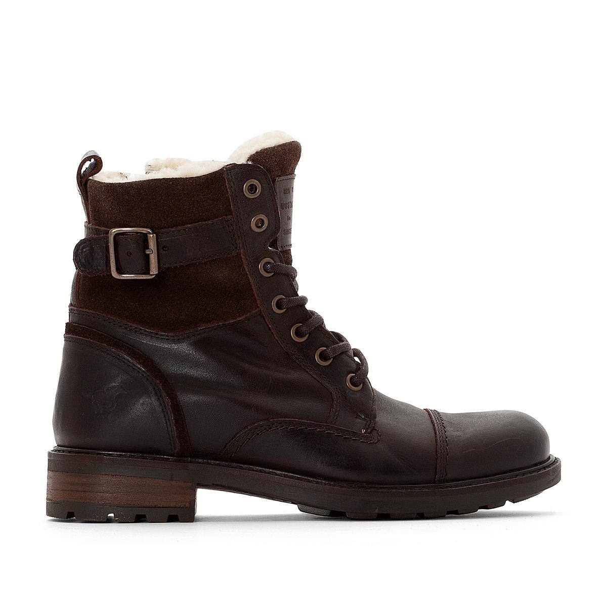 Ботинки кожаные на меху и шнуровке MUSTANG SHOES