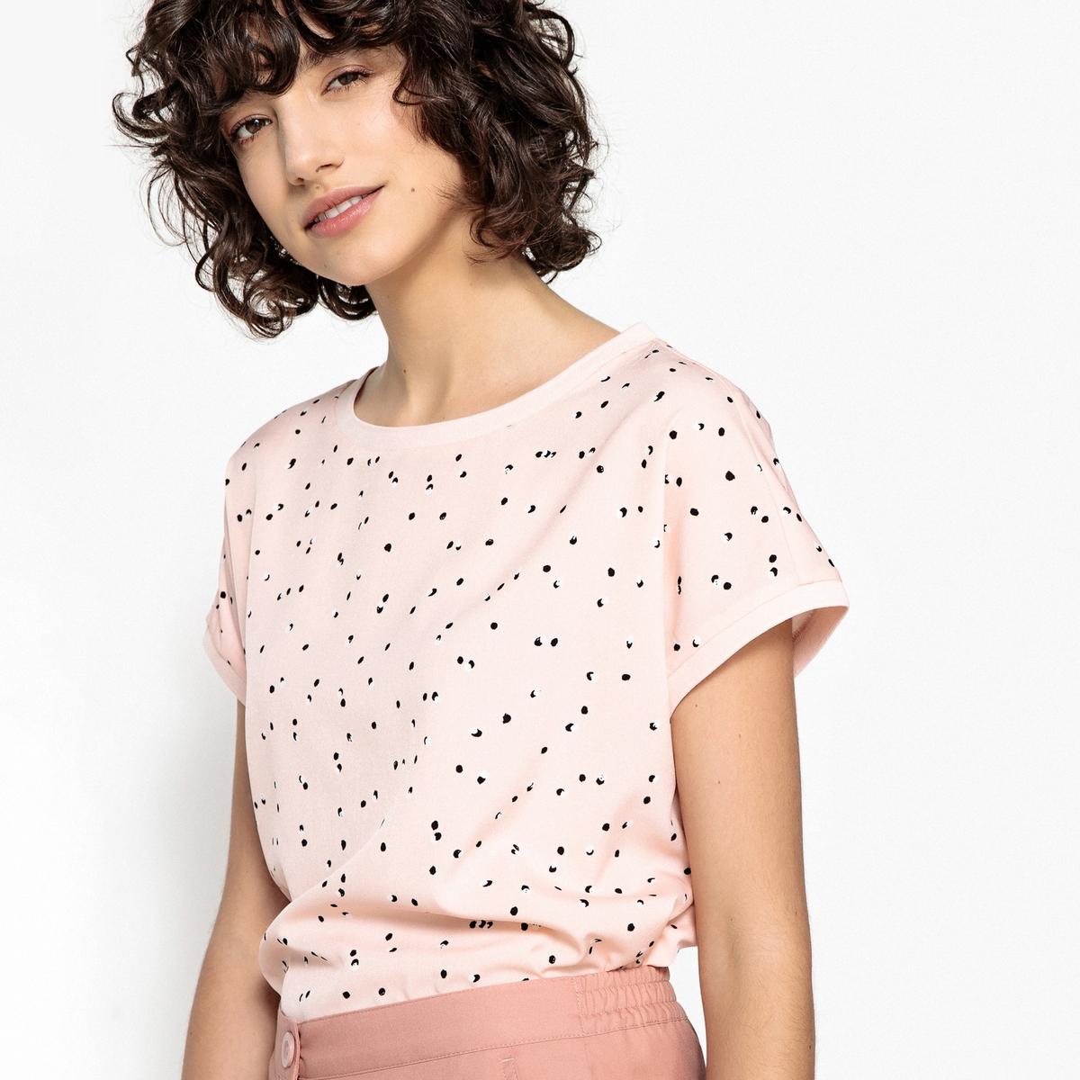 Блузка в горох с круглым вырезом и короткими рукавами