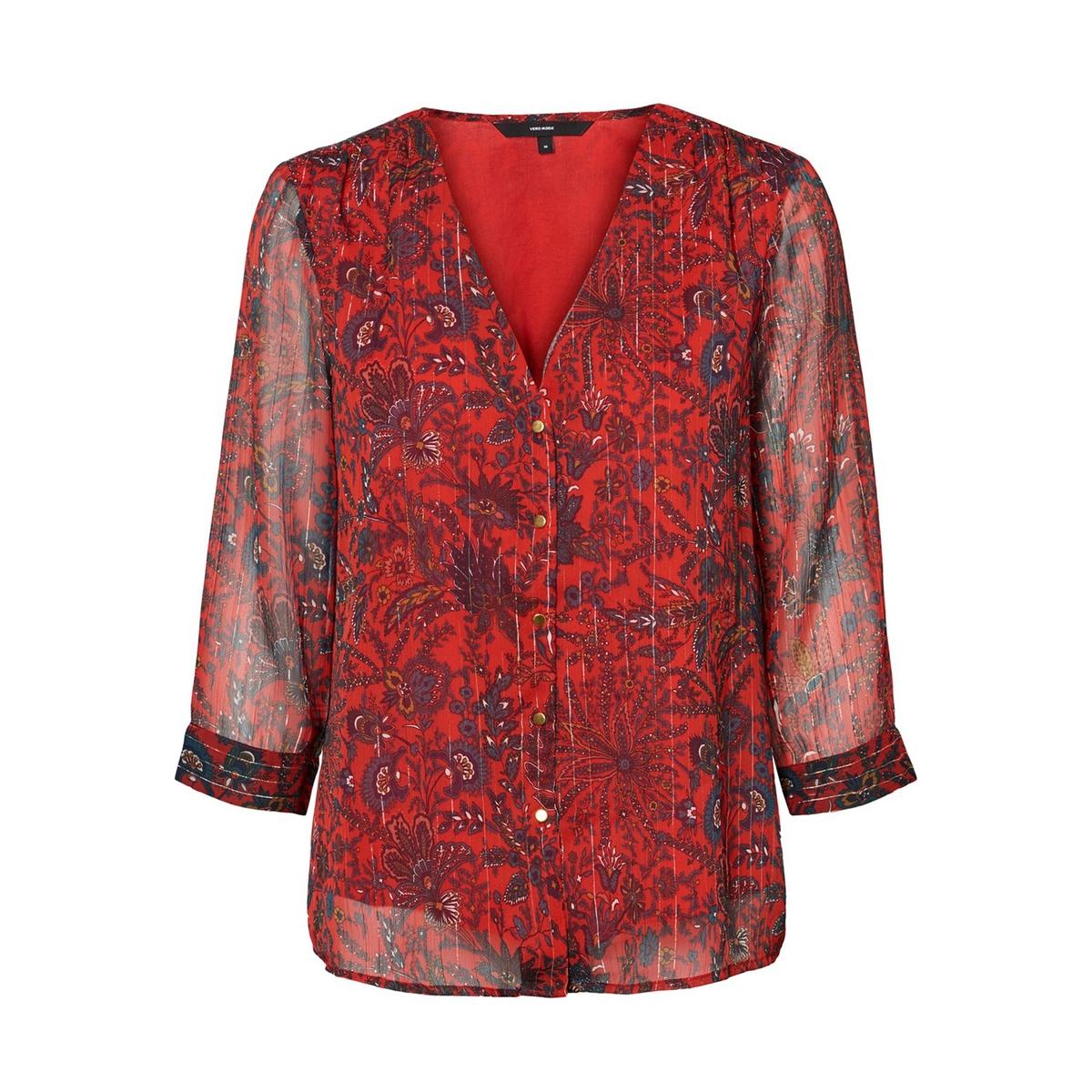 Блузка LaRedoute С цветочным принтом и V-образным вырезом XS красный
