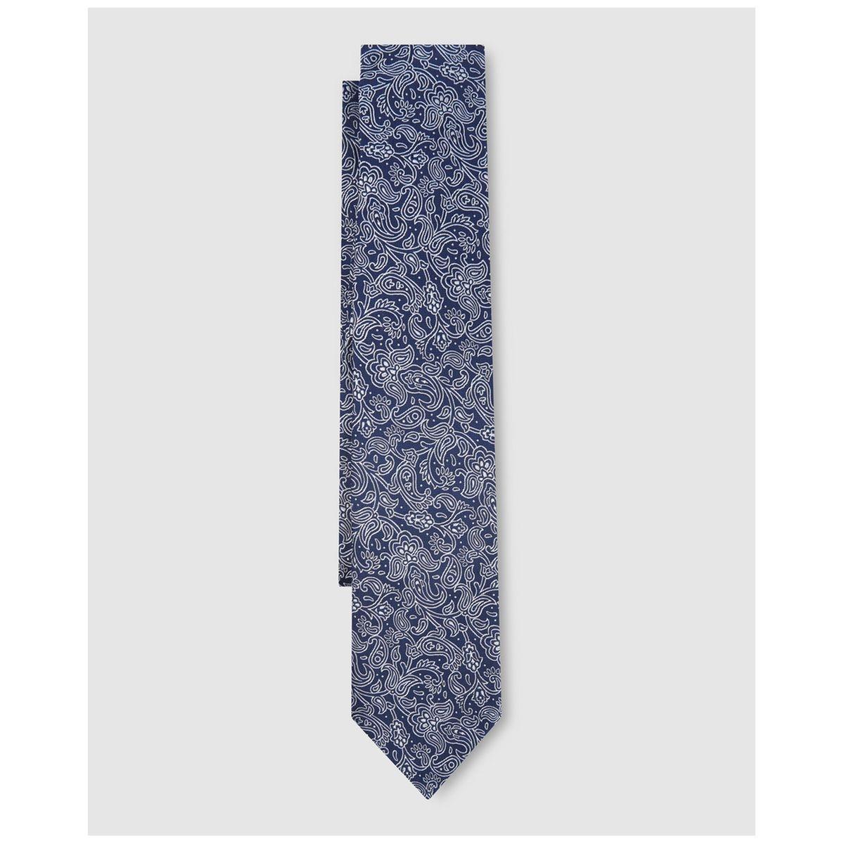 Cravate en soie à microimprimé cachemire /