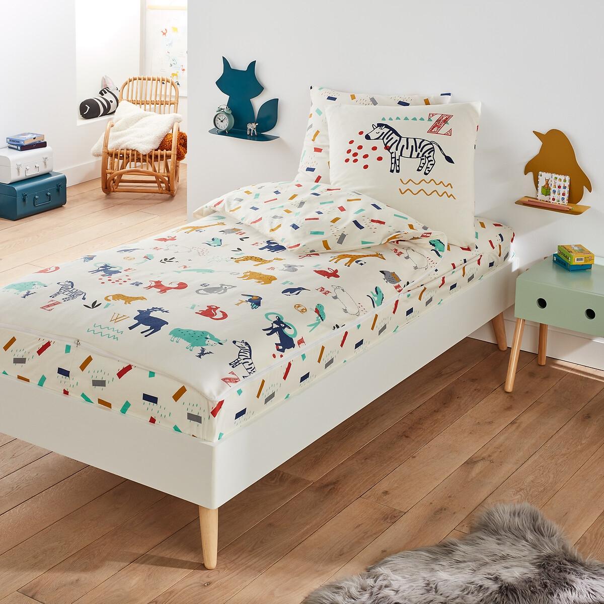 Комплект постельного белья ANIMALIA LaRedoute La Redoute 90 x 190 см каштановый кровать la redoute детская с покрытием дубовым шпоном drakar 70 x 140 см каштановый